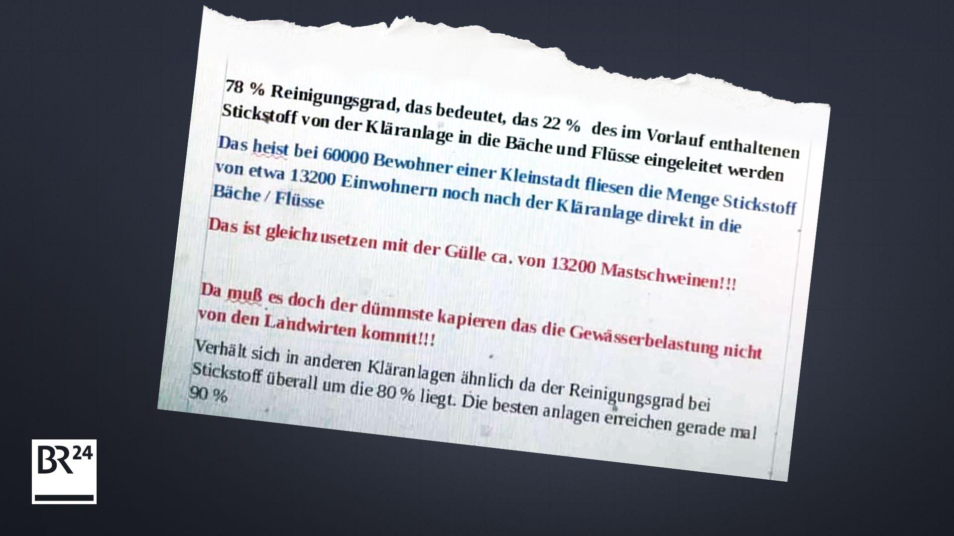 Ein Auszug des kursierenden Flugblatts zu Gülle aus Starnberg (Screenshot)