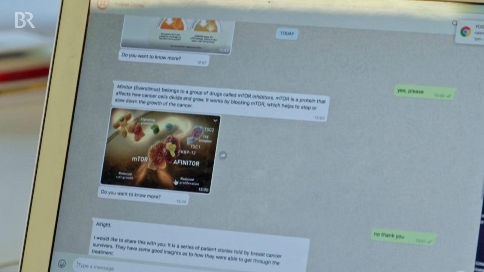 Chat-Verlauf auf einem Bildschirm