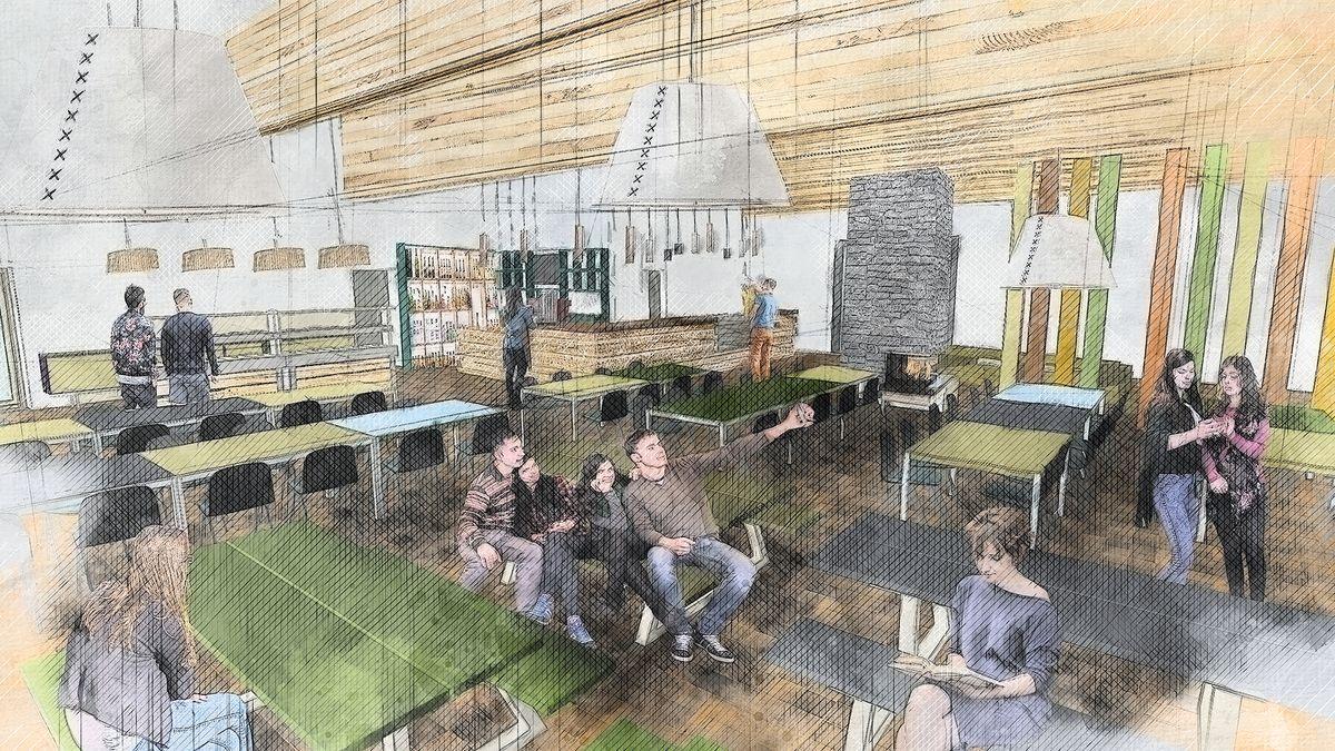 Entwurf des künftigen Speisesaals der Jugendherberge.