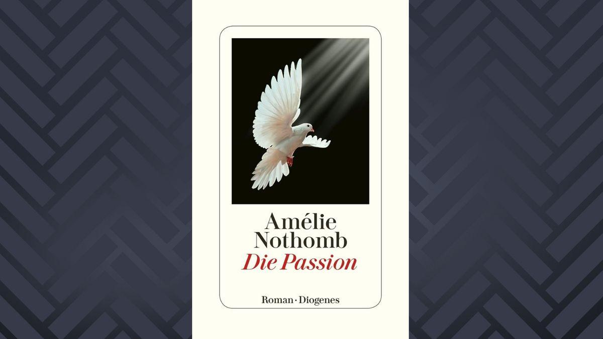 """Ein weiße Taube landet mit geöffneten Schwingen vor dunklem Hintergrund – das ist das Umschlagbild von """"Die Passion""""."""