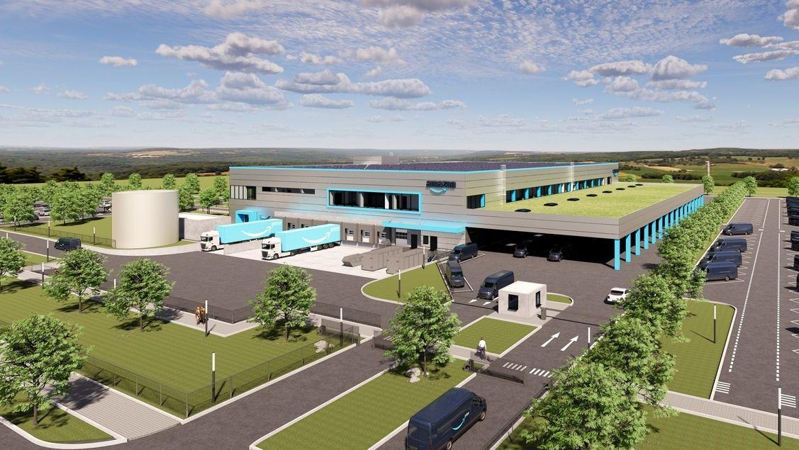 Eine Animation zeigt das geplante Amazon-Verteilzentrum in Schwarzenbach an der Saale.