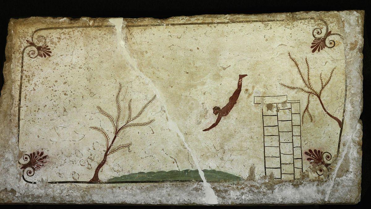 Kopfsprung eines Mannes: Der Taucher von Paestum, Wandmalerei aus dem 5. Jahrhundert vor Christi