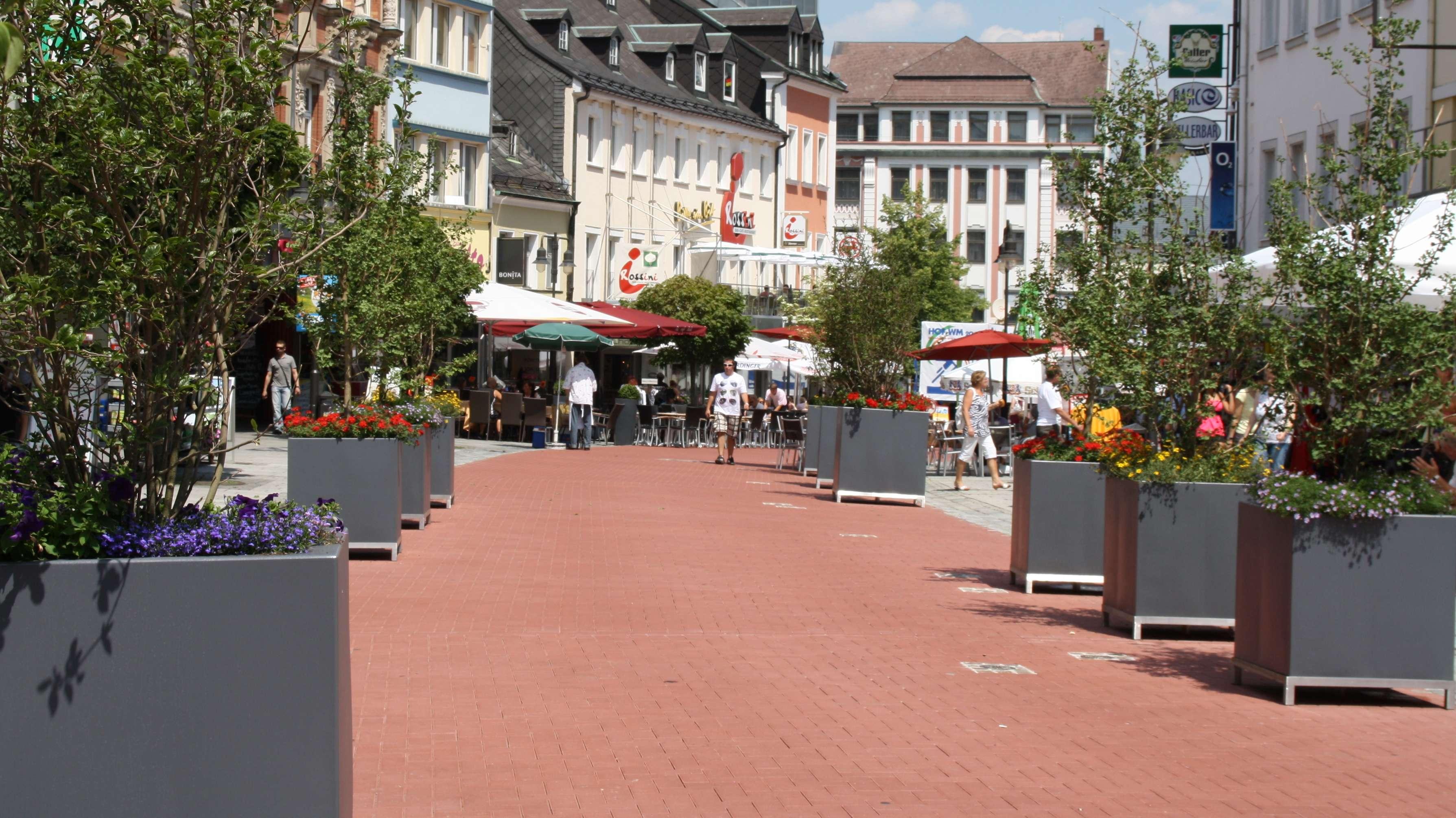 Blick in die Hofer Fußgängerzone