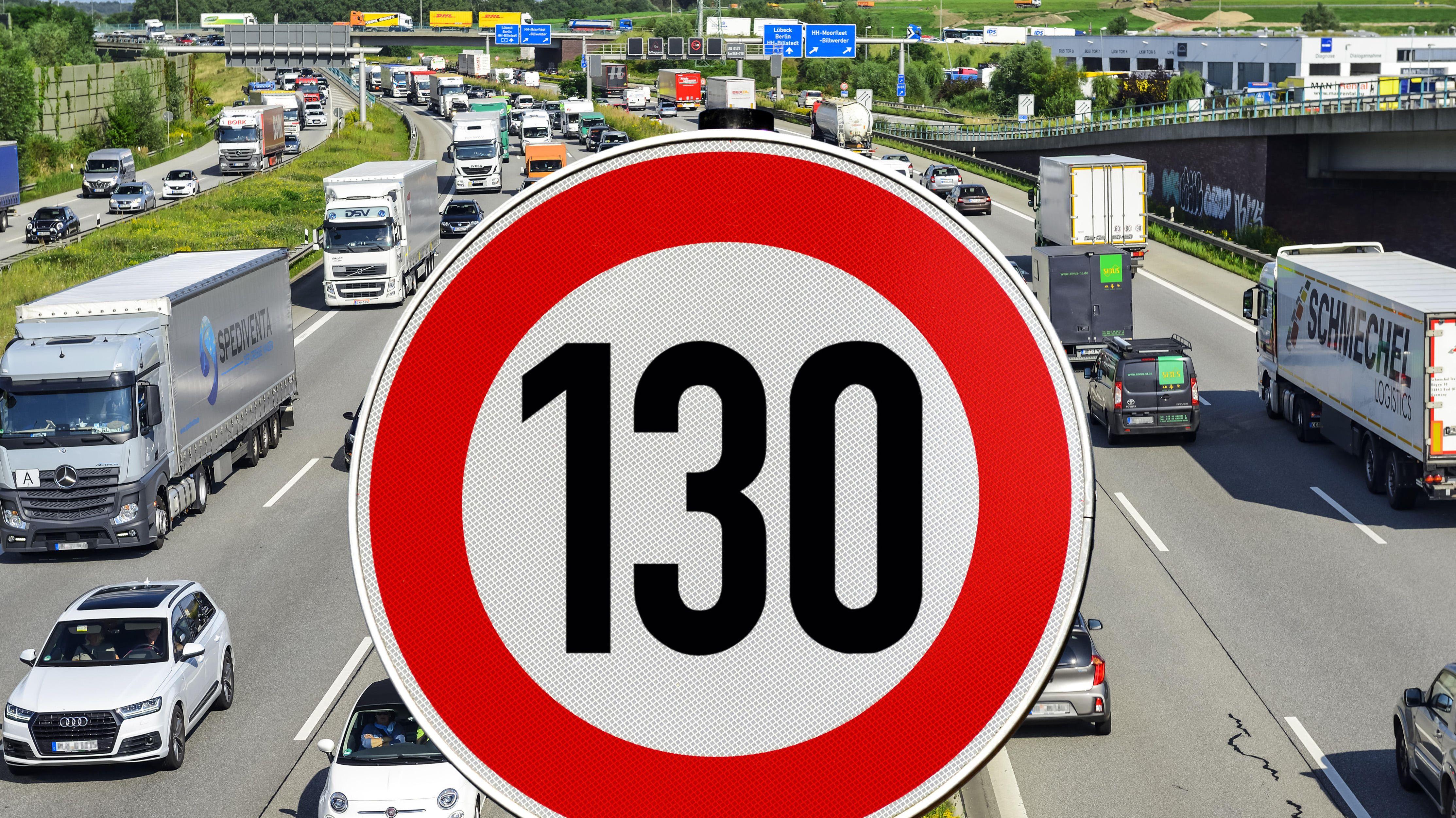 Symbolbild Tempolimit Autobahn mit Schild Höchstgeschwindigkeit 130 km/h