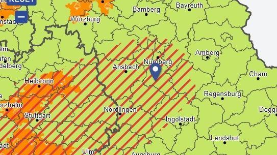 Unwetterkarte des DWD (Stand: 26.07.2021; 13.57 Uhr)