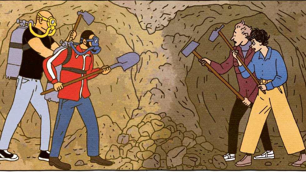 Zwei Teams graben in einem Tunnel unter der Erde. Plötzlich begegnen sie sich.