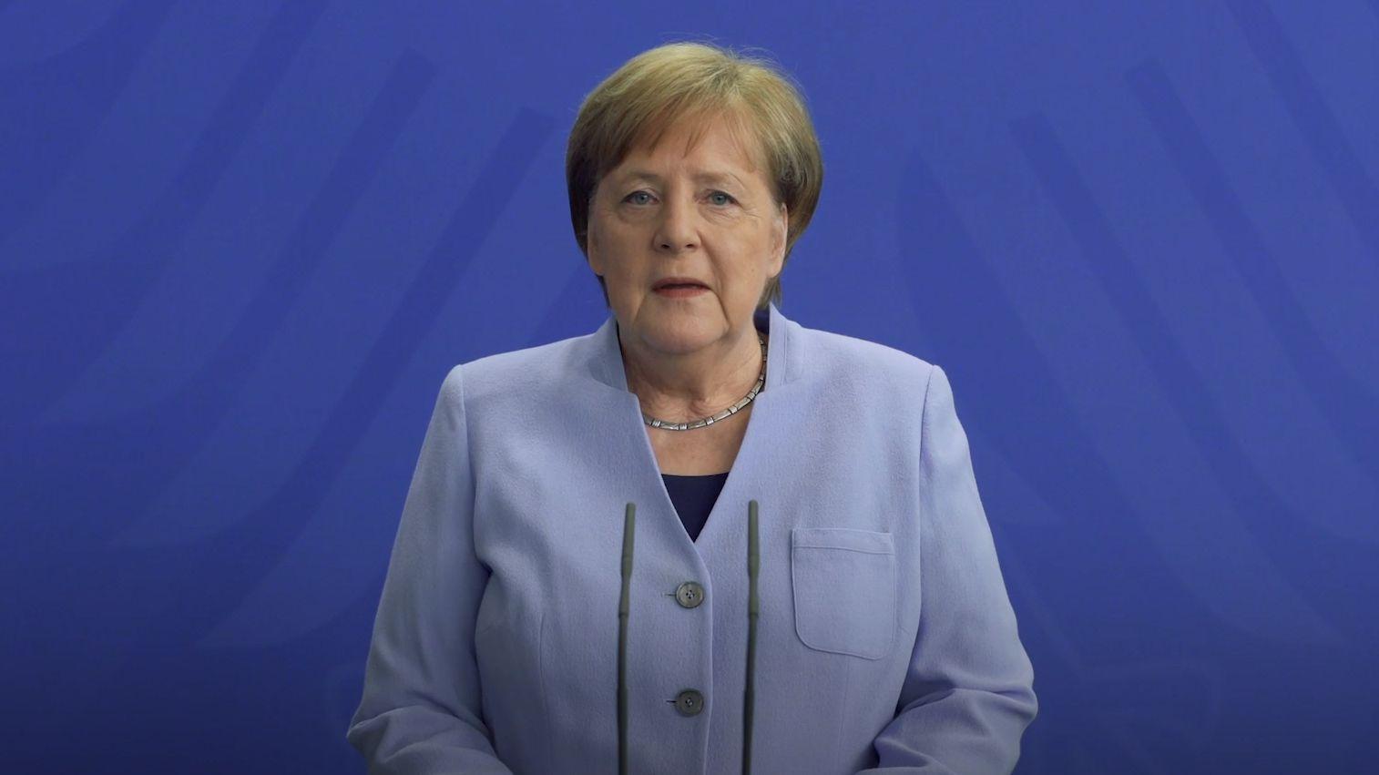 Screenshot Video-Podcast von Bundeskanzlerin Merkel vom 3.4.2020