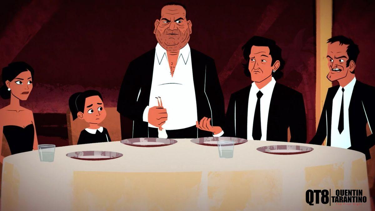 Zeichnung eines Tischs mit einer Frau, einem kleinen Mädchen, einem großen stehenden und zwei sitzenden Männern.