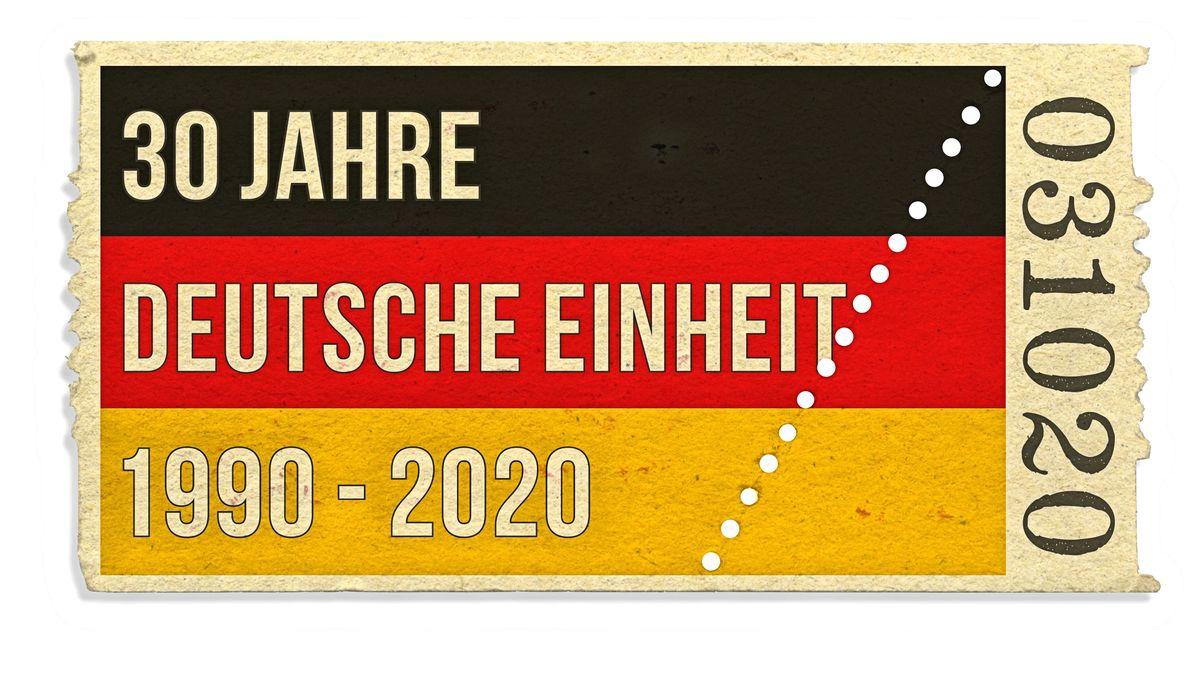 Symbolische Eintrittskarte mit der Deutschen Nationalflagge zum 30. Jahrestag der Deutschen Einheit zwischen Ost und West am 03. Oktober 2020.
