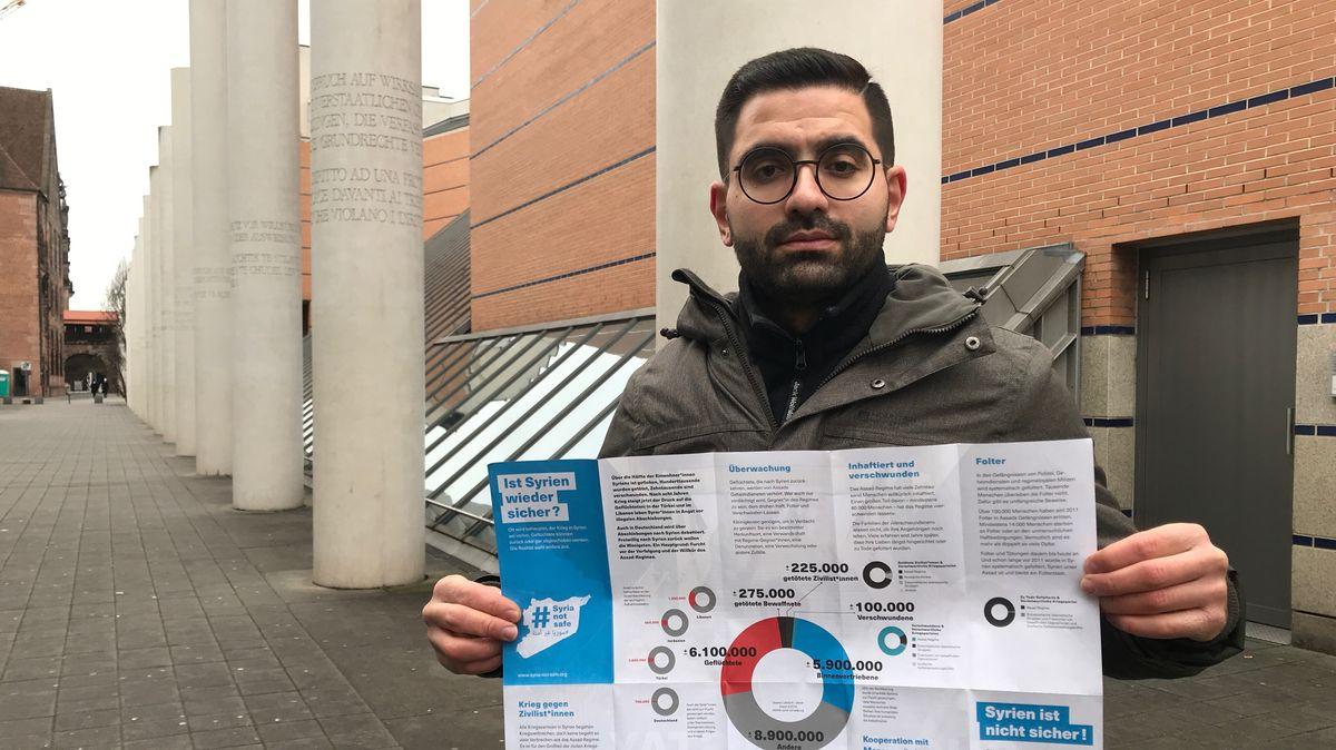 """Samer Al Hakim von der Initiative """"Syria not safe"""" in Nürnberg"""