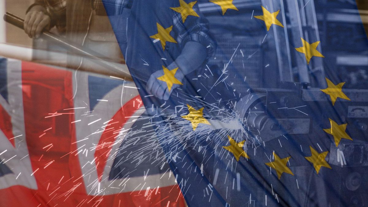 Eine Collage zeigt Handwerksarbeiten und die Fahnen von EU und Großbritannien.
