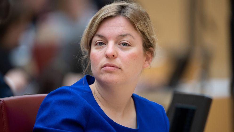 Die bayerische Grünen-Fraktionschefin Katharina Schulze im Landtag, aufgenommen am 15. Mai 2019. | Bild:pa/dpa/Sven Hoppe