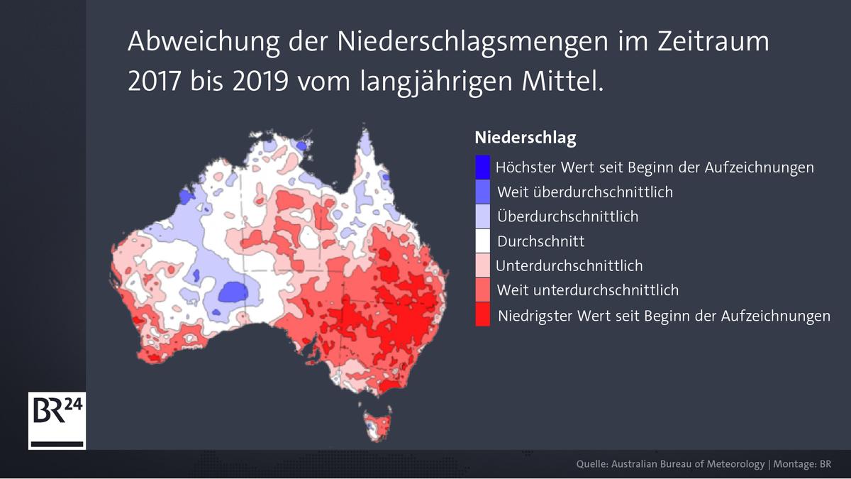 Die Grafik zeigt, wo es in Australien zuletzt mehr geregnet hat als üblich (blau) und wo weniger (rot).