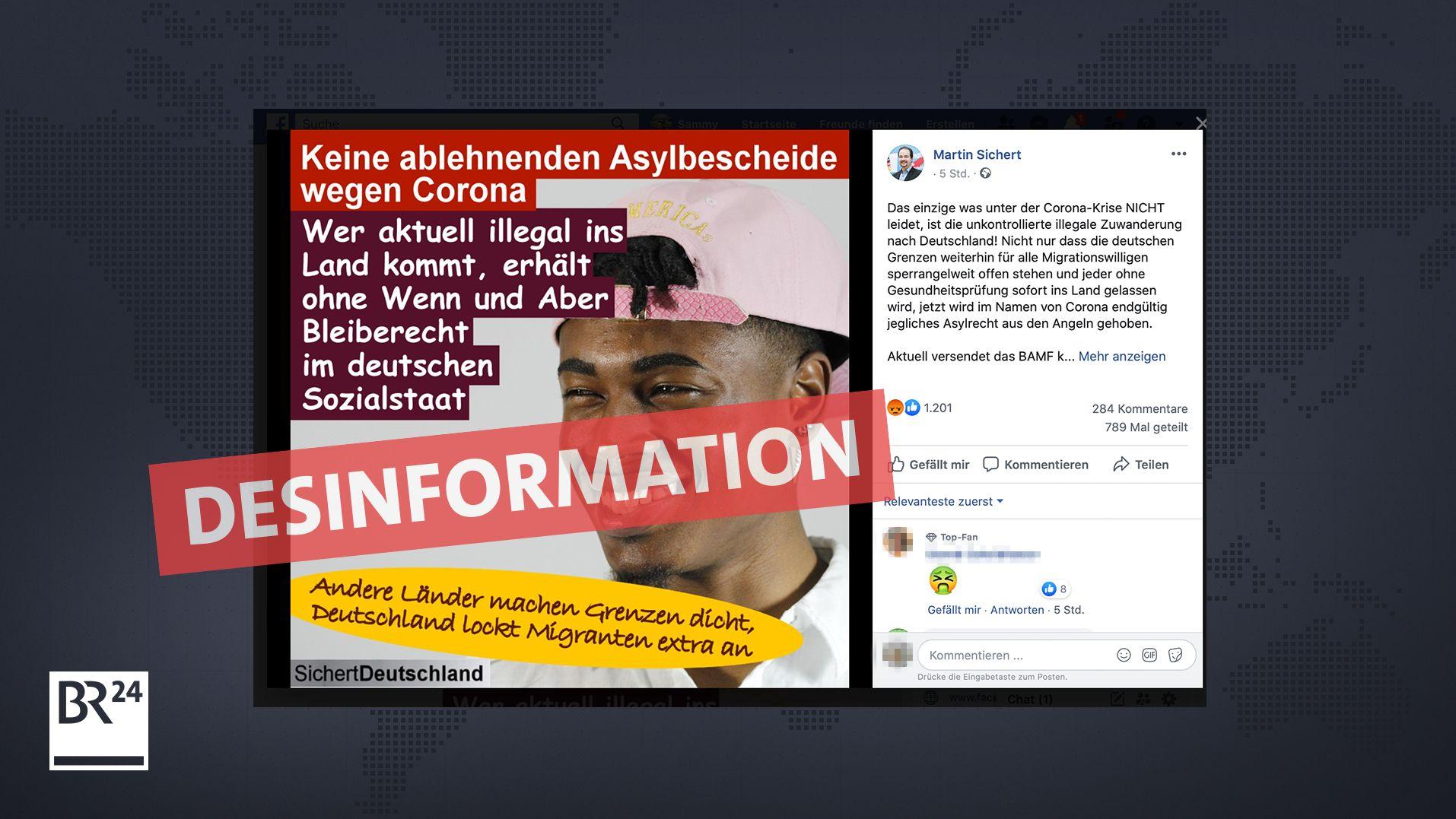 Der bayerische Bundestagsabgeordnete Martin Sichert verbreitet auf seiner Facebook-Seite eine Falschmeldung zu Asylanträgen