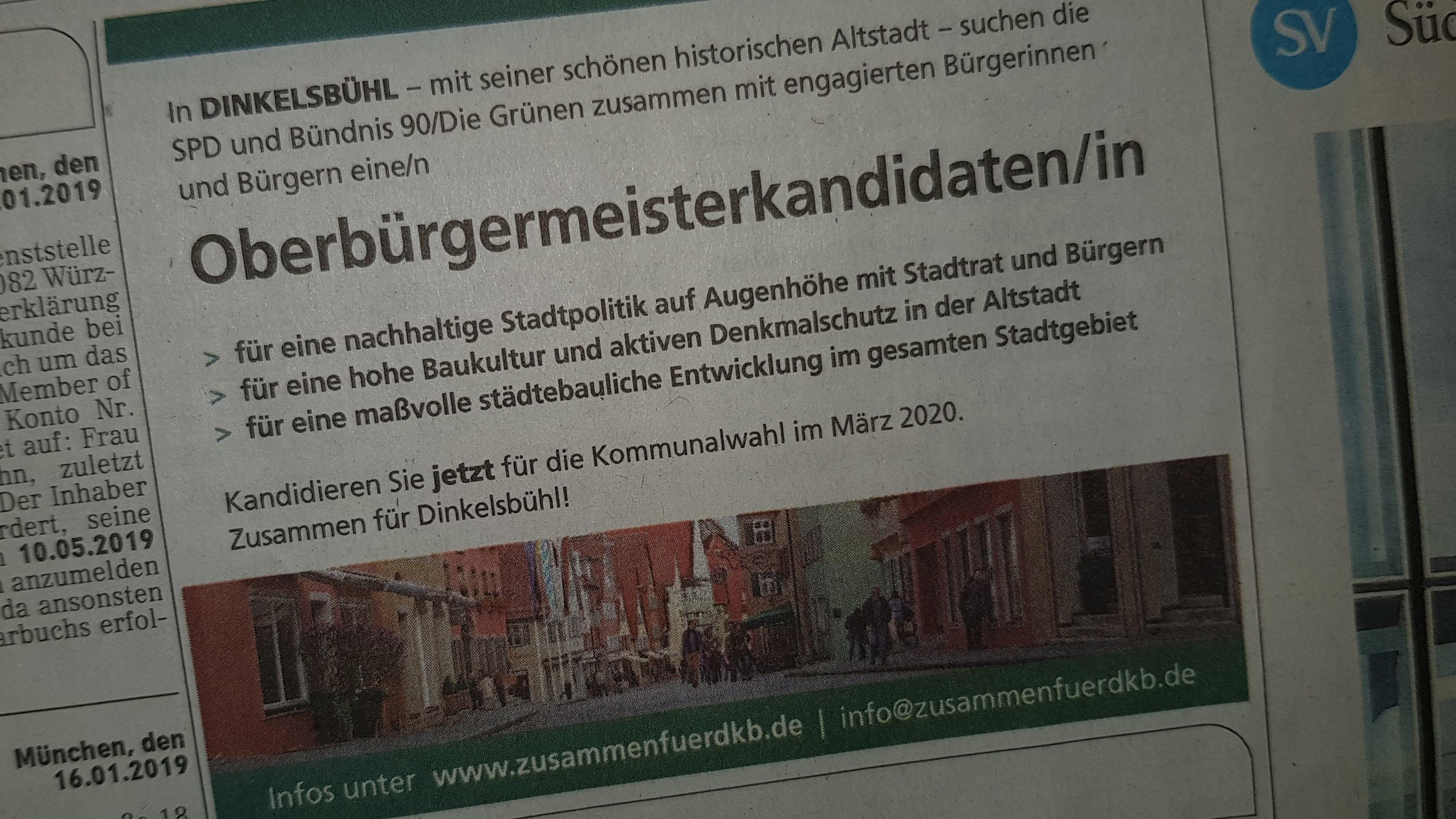 """Zeitungsanzeige von """"Zusammen für DKB"""" in der Süddeutschen Zeitung (Ausgabe vom 19.01.2019)"""