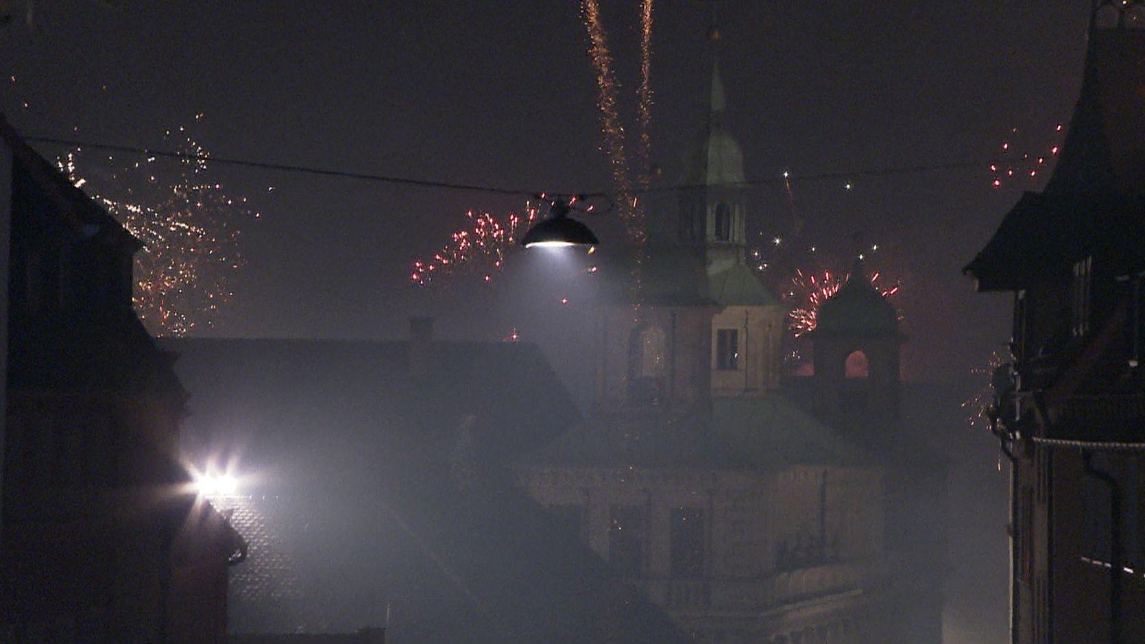 Feuerwerk in der Silvesternacht in Nürnberg