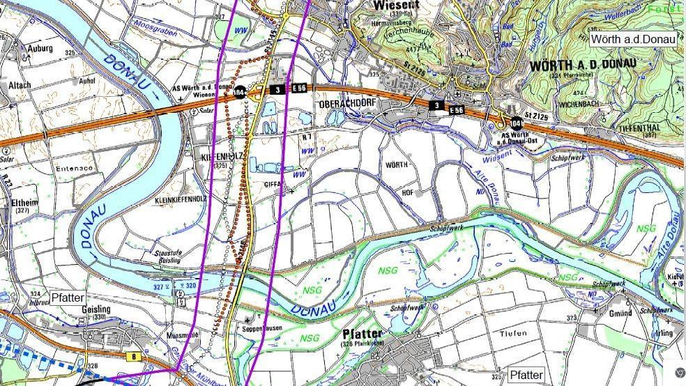 Hier sieht man den Streckenabschnitt zwischen Wiesent und Pfatter.
