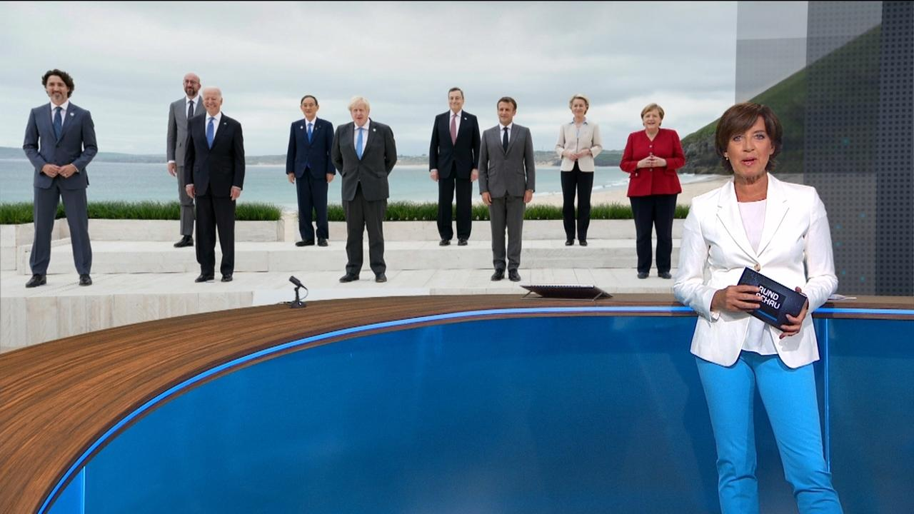 Ursula Heller vor einem Foto der Staats- und Regierungschefs der G7