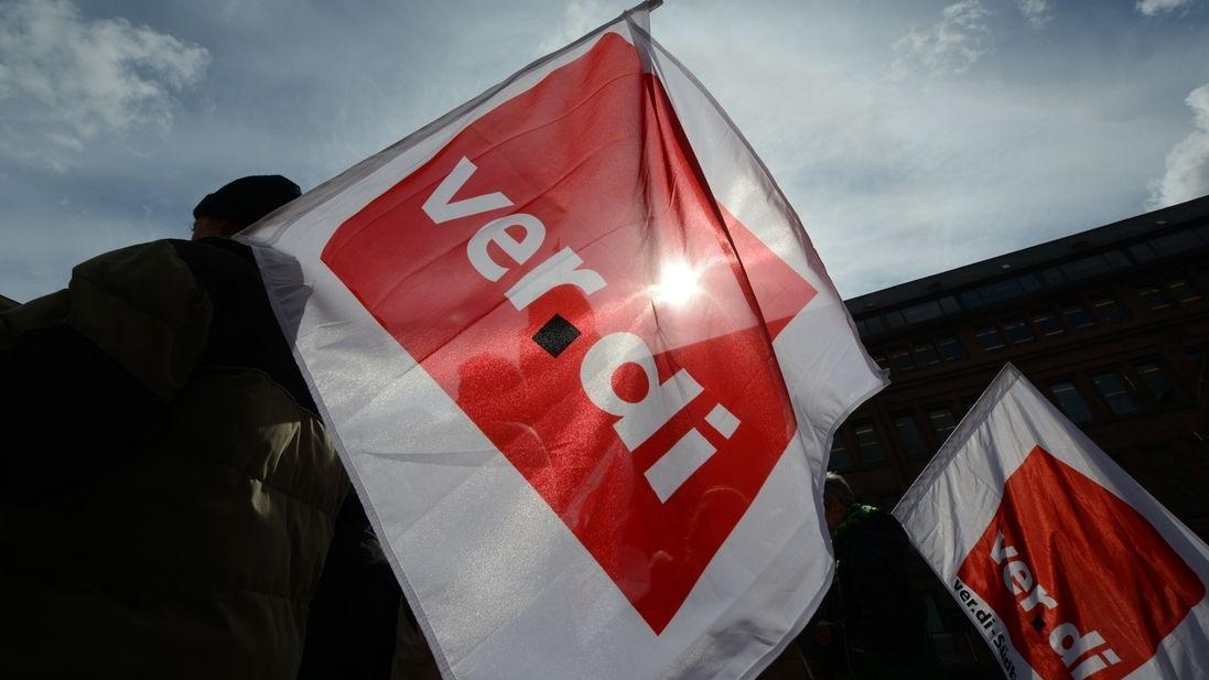 Verdi-Flagge, Streik, Warnstreik