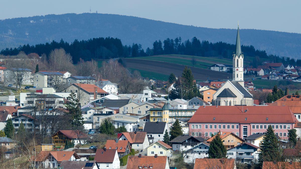 Blick auf die Stadt Freyung im Bayerischen Wald