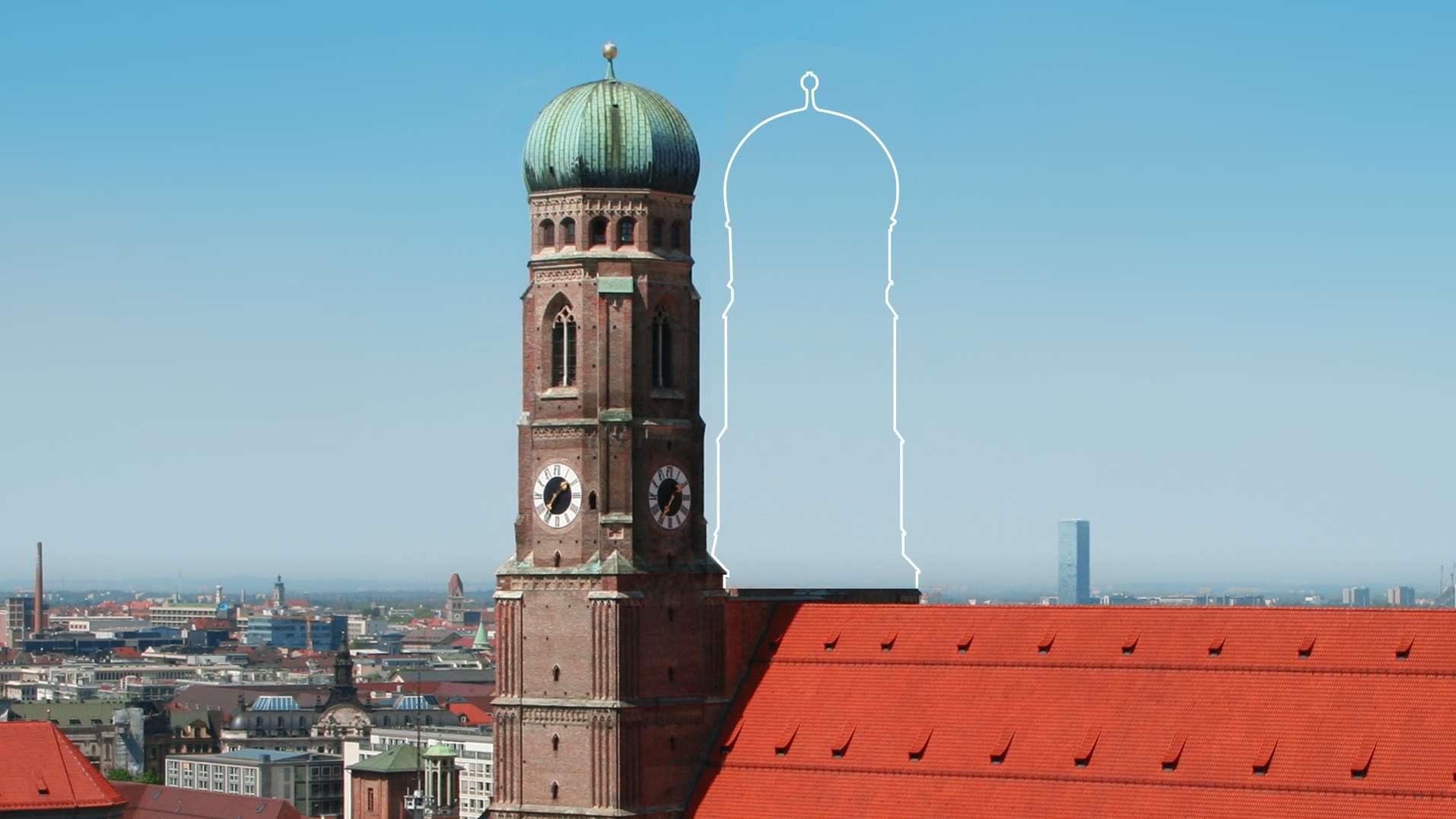 Symbolbild (Collage): Münchner Liebfrauendom mit nur einem Turm