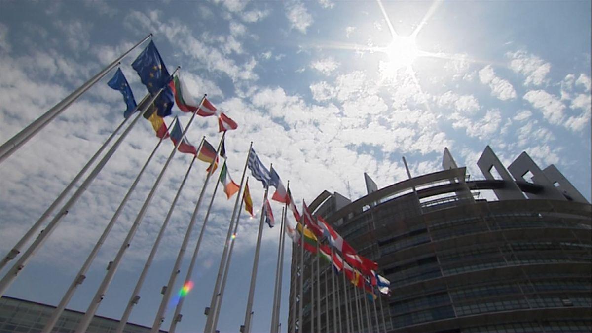 Europäisches Parlament, davor Flaggen europäischer Länder