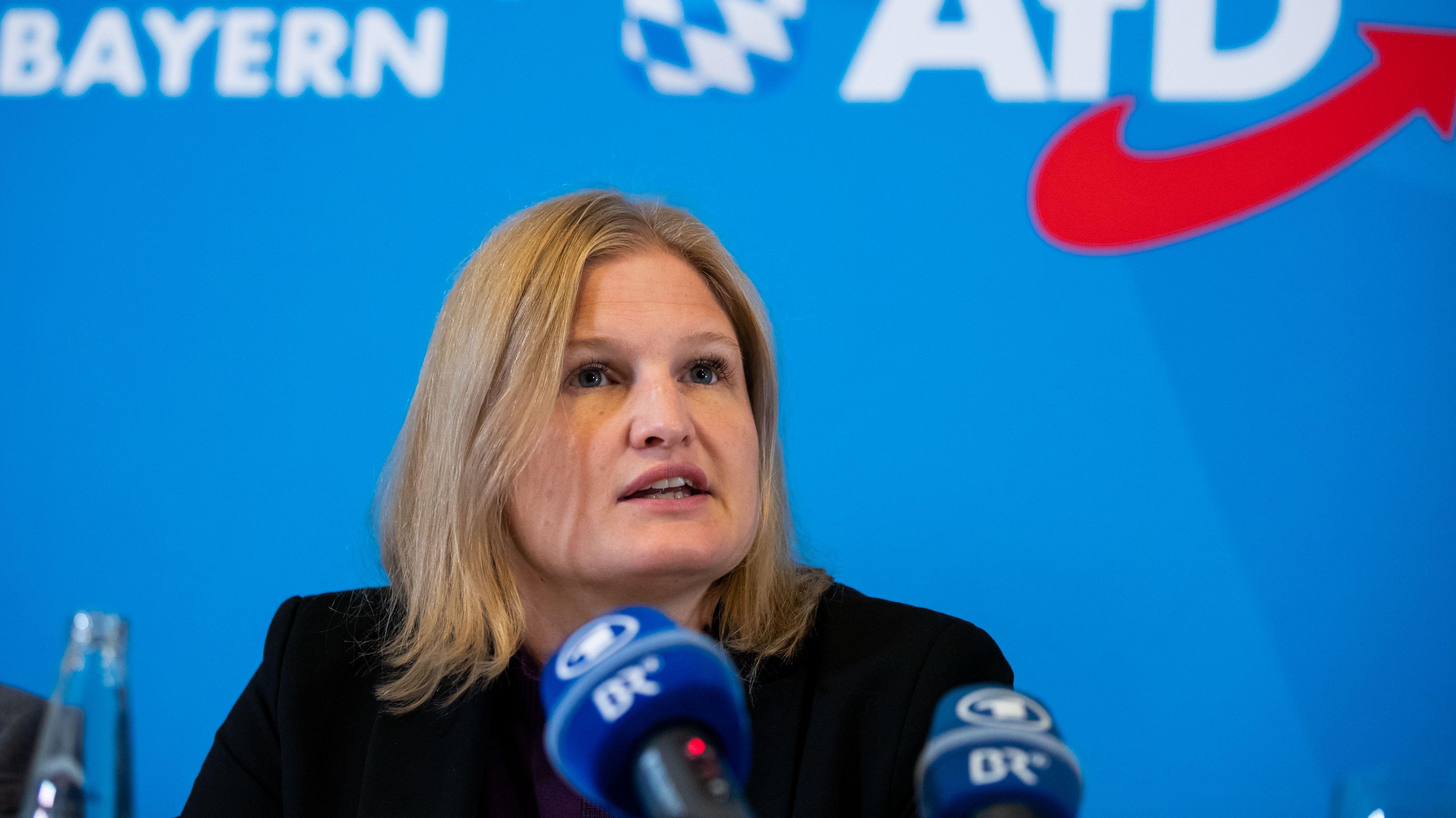 Bayerns AfD-Fraktionschefin Katrin Ebner-Steiner bei einer Pressekonferenz zum Abschluss der Herbstklausur der Abgeordneten am 19. September 2019