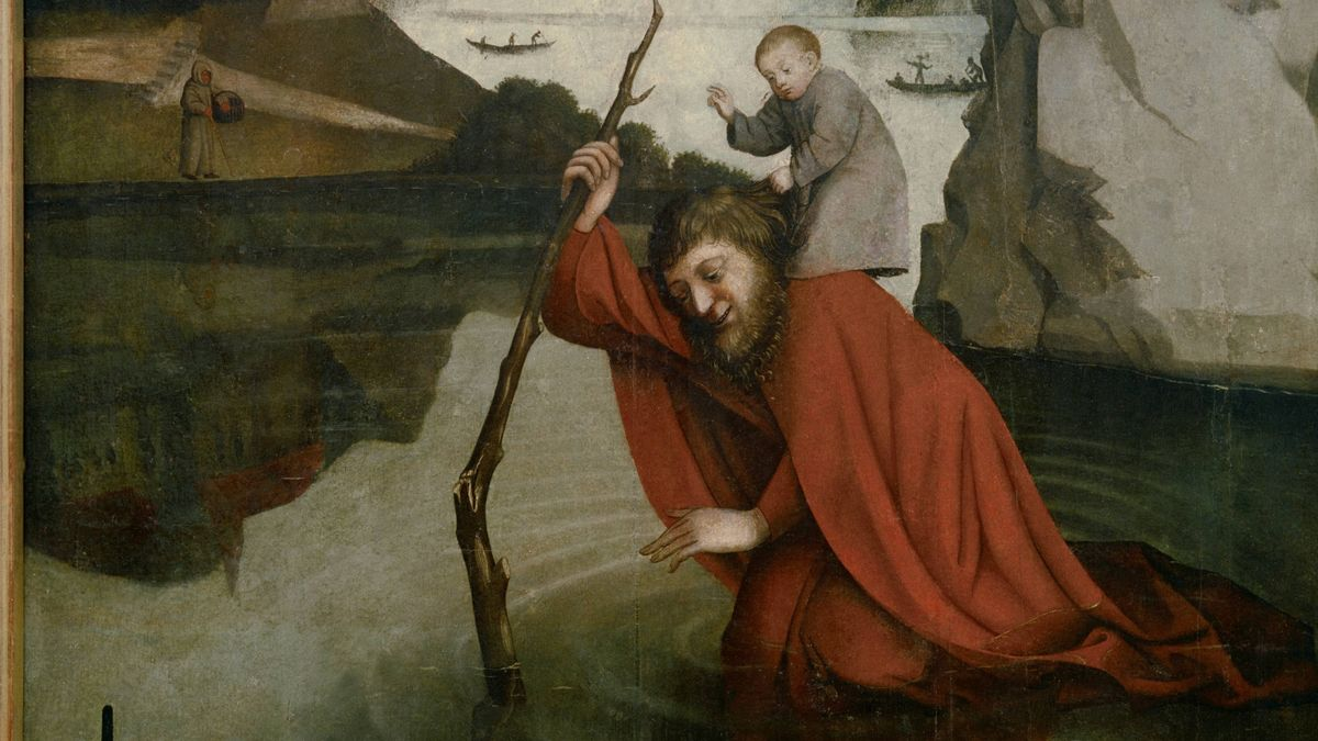 "Witz, Konrad. um 1400 – um 1445. ""Der hl. Christophorus"", um 1435/1445. Mischtechnik auf Eichenholz, 101,5 × 81 cm. Inv. 646. Basel, Kunstmuseum."