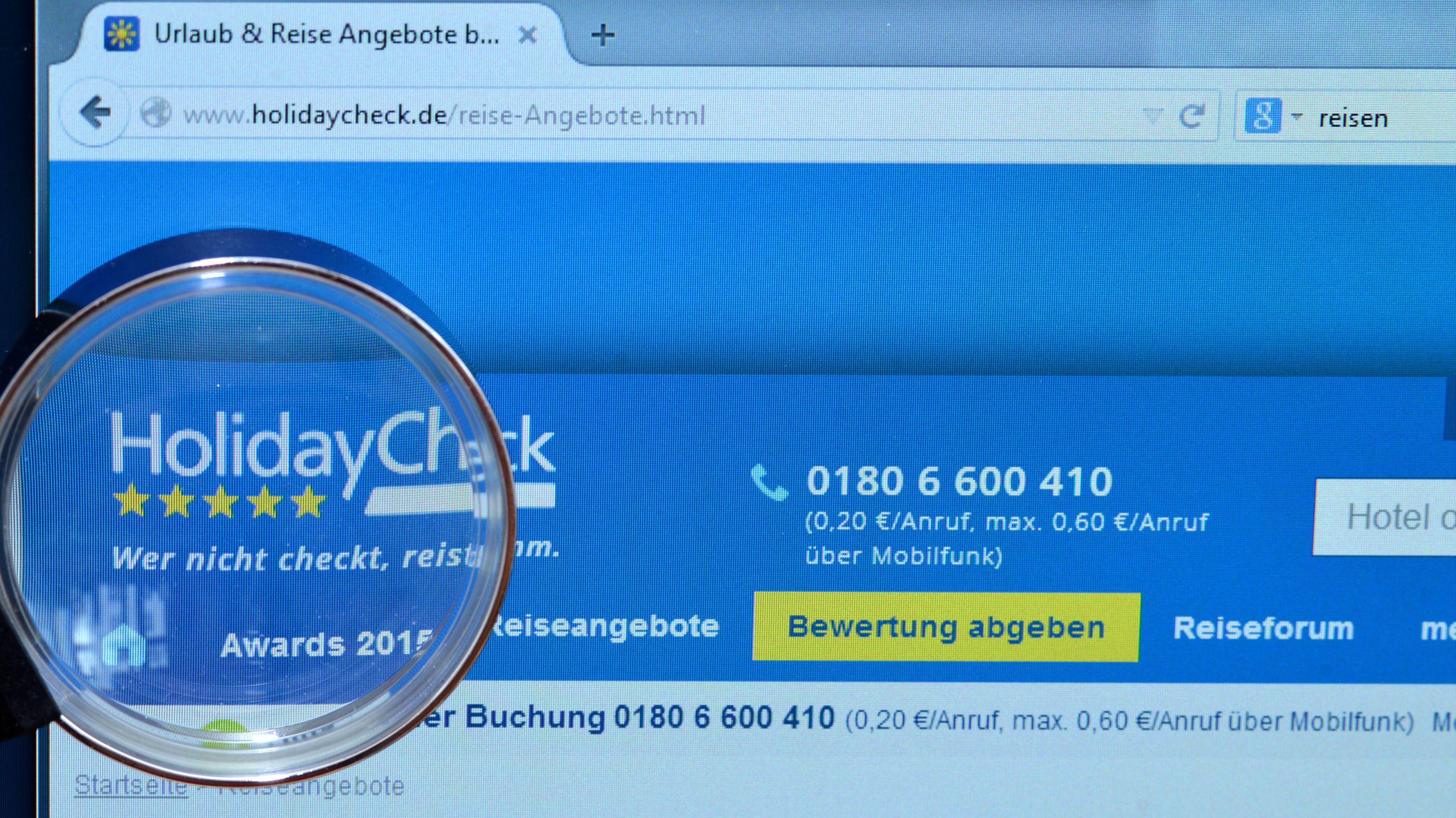 Die Internetseite von HolidayCheck.de (Symbolbild)