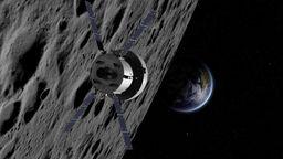 Illustration der Mondsonde Orion, bestehend aus dem europäischen Antrieb ESM und der Astronautenkapsel vor Mond und Erde | Bild:NASA