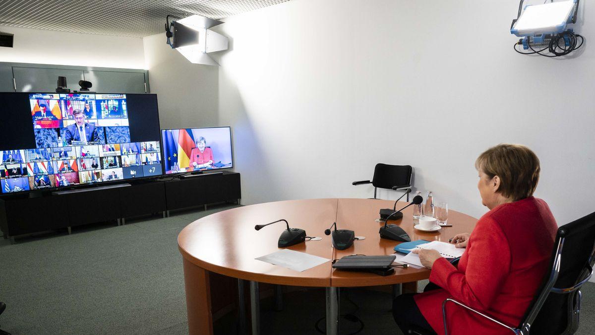Bundeskanzlerin Angela Merkel während einer Videokonferenz