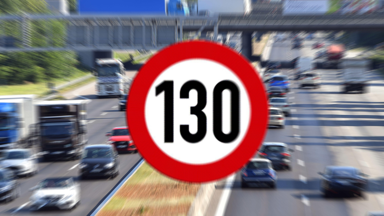 Schild mit Tempolimit 130 km/h