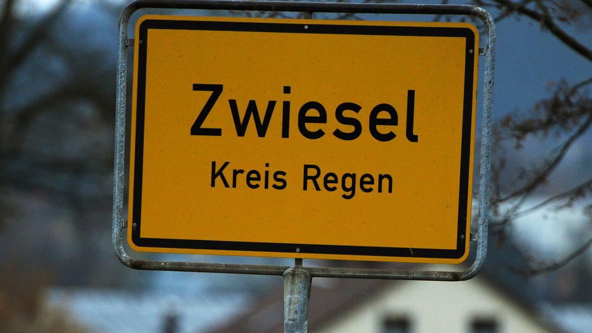 Das Ortsschild von Zwiesel im Kreis Regen