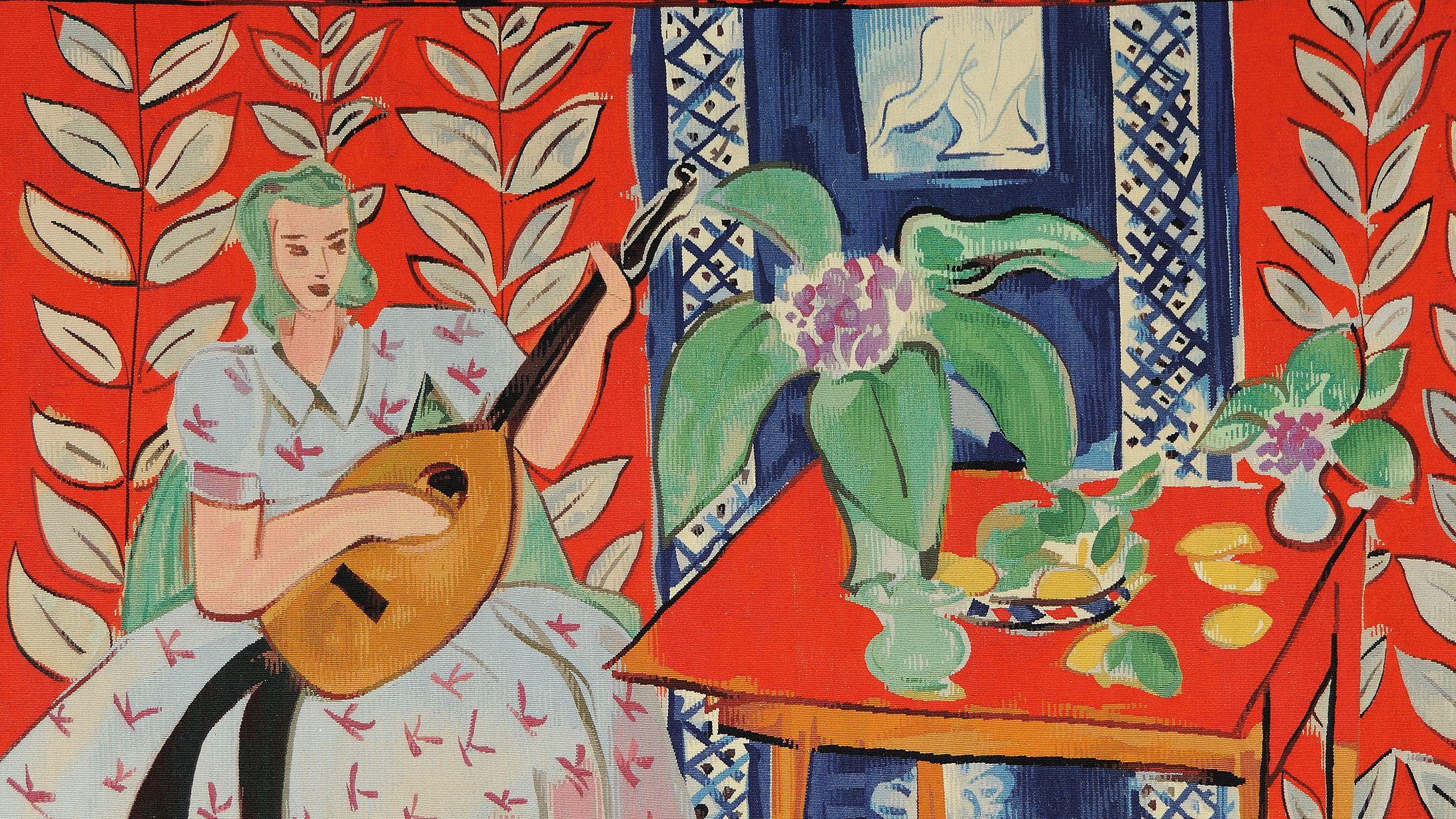 Wandteppich mit einer Laute spielenden Frau von Henri Matisse