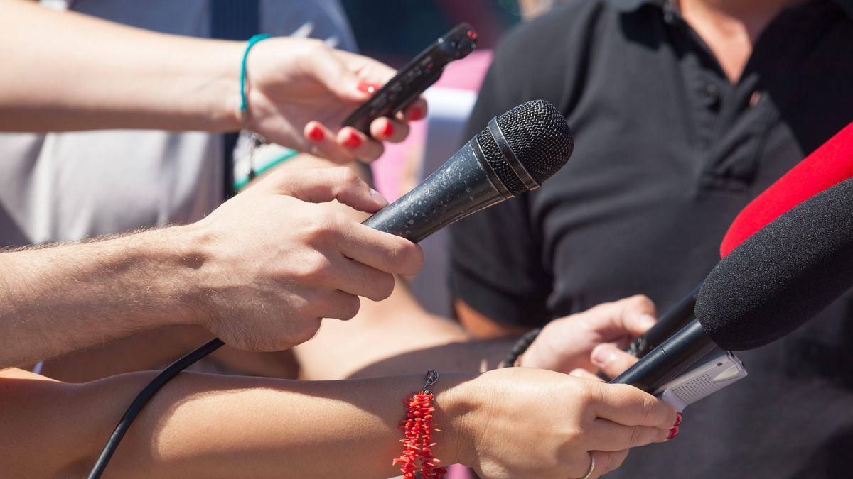 Mehrere Hände mit Mikrofonen (Symbolbild)