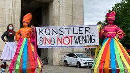 Künstler demonstrieren in München | Bild:BR/Gino Thanner