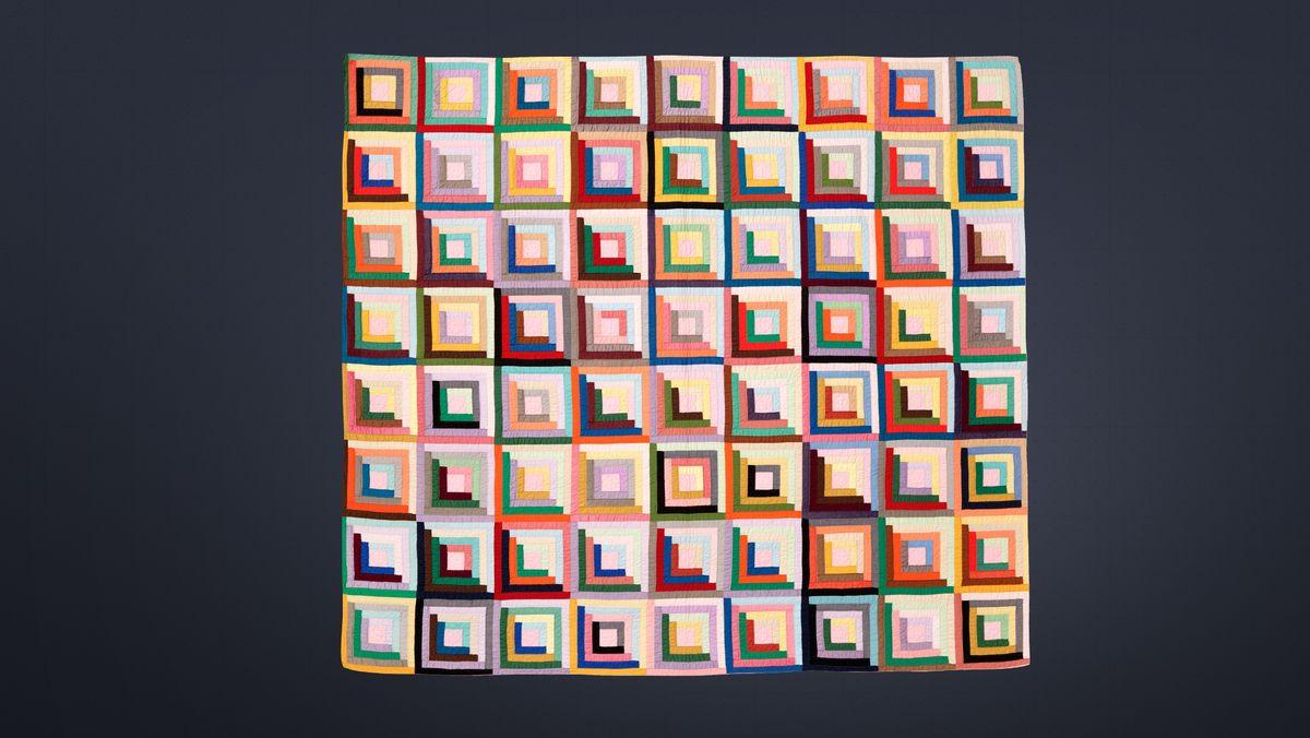 Ein Quilt mit Hunderten farbiger Quadrate