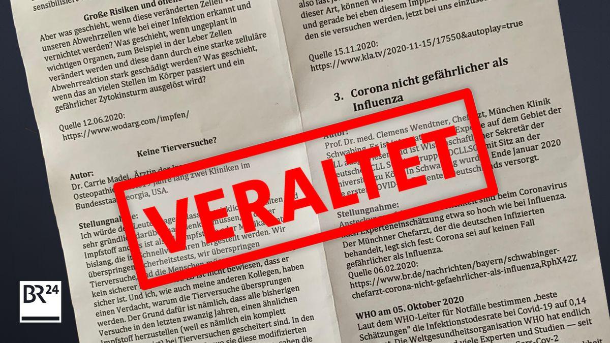"""Flyer mit dem Stempel """"Veraltet"""": Hier werden überholte Zitate von Wissenschaftlern aus dem Zusammenhang gerissen"""