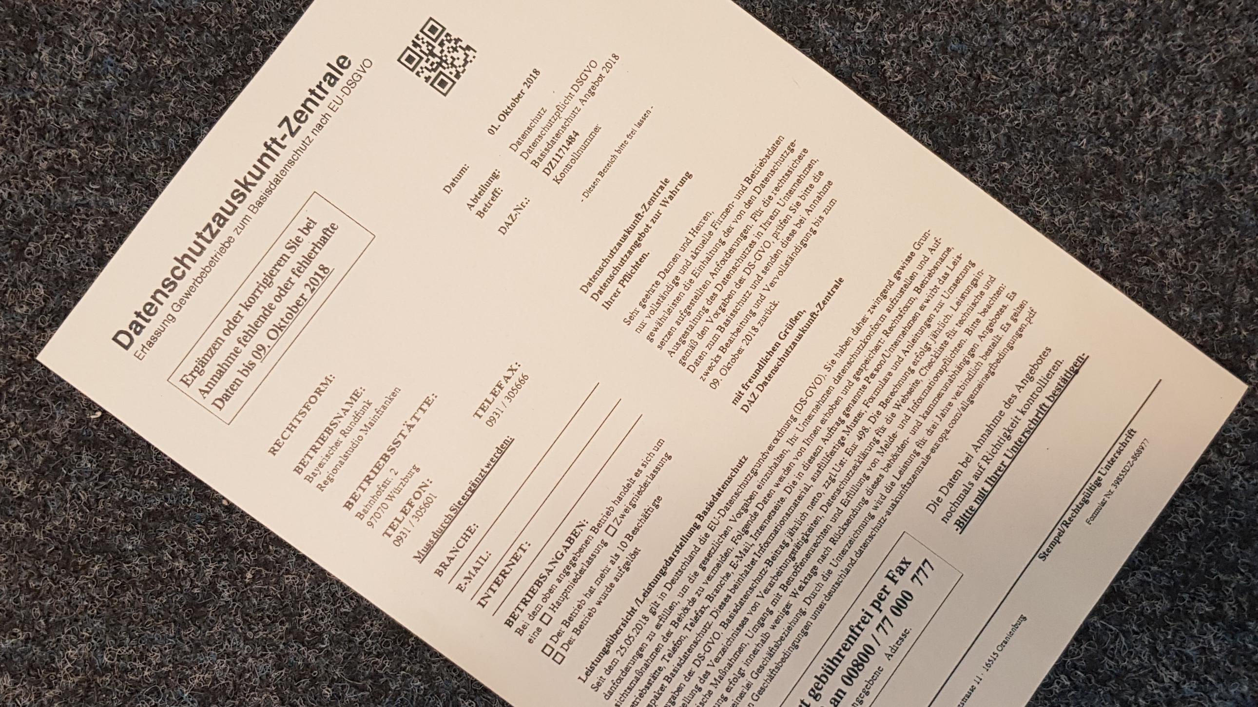 """Fax der angeblichen """"Datenschutzauskunft-Zentrale"""""""