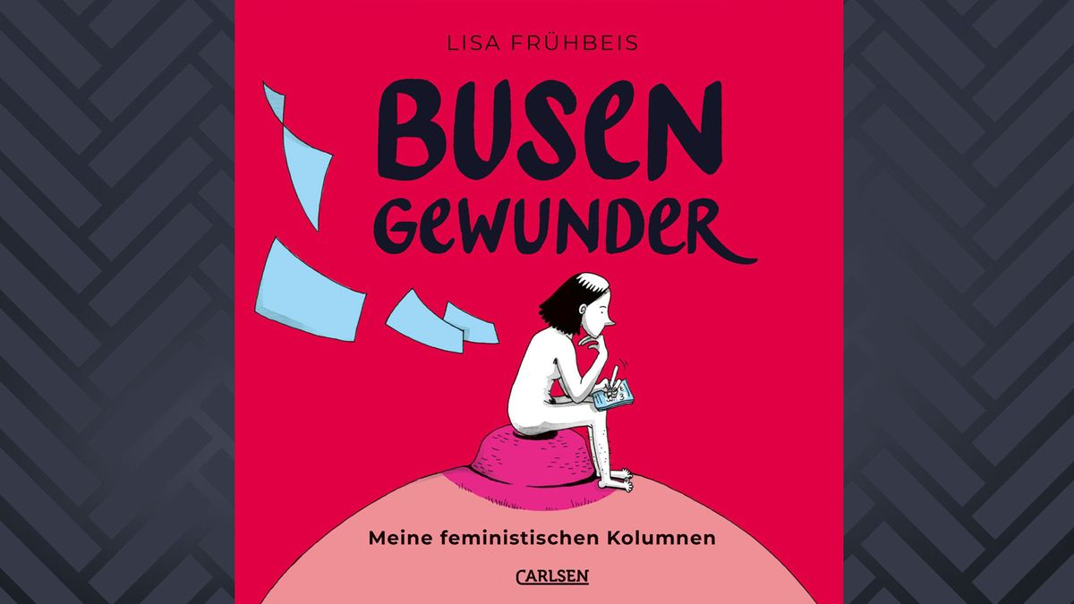 """Cover des Buches """"Busen Gewunder"""" von Lisa Frühbeis. Leuchtend roter Hintergrund. Vorne Skizze einer Frau, die auf überdimensionaler weiblicher Brust sitzt und schreibt, Zettel fliegen davon."""
