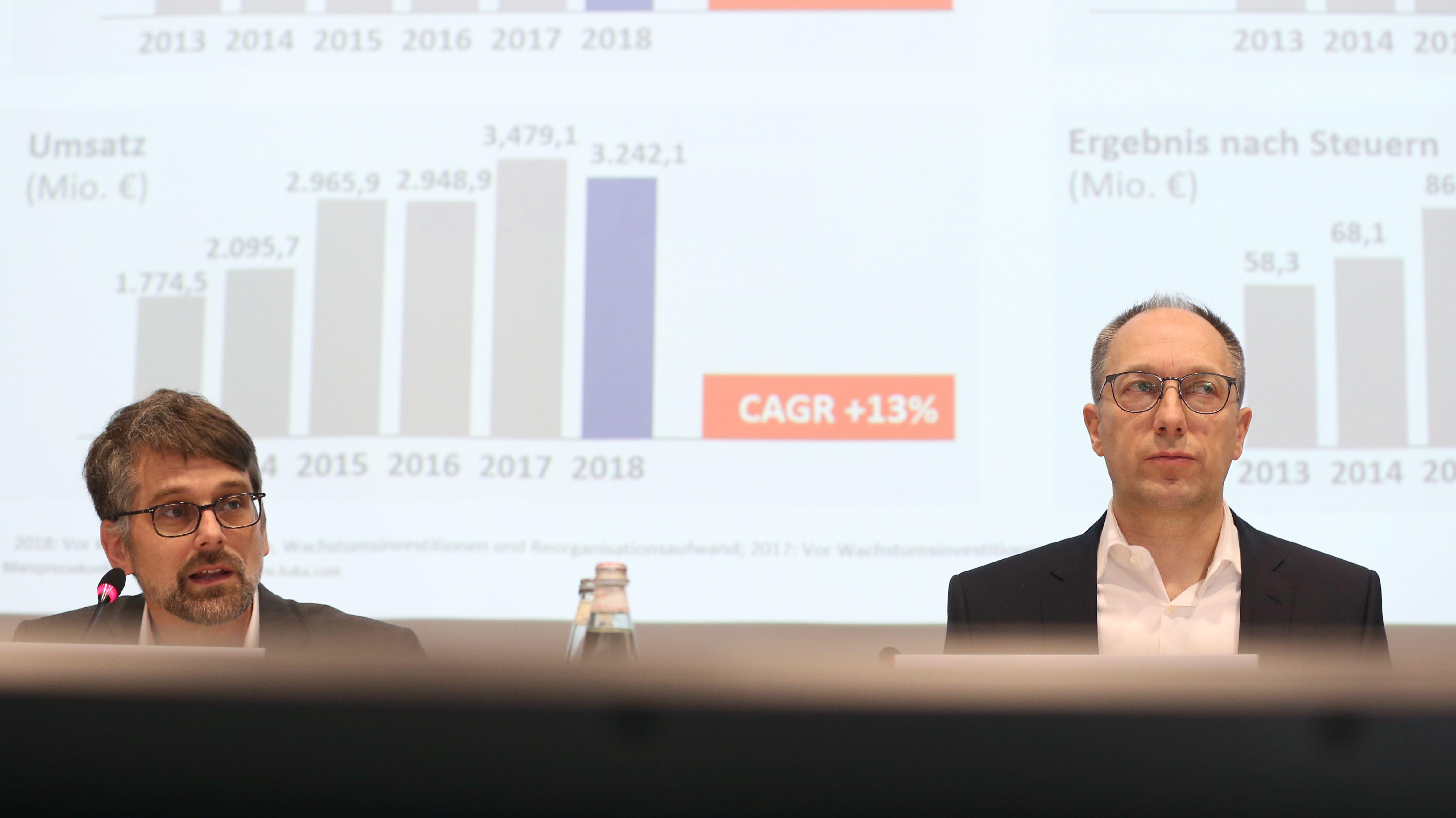 Kuka Finanzvorstand Andreas Pabst (links) und Vorstandschef Peter Mohnen bei einer Bilanz-Pressekonferenz im März