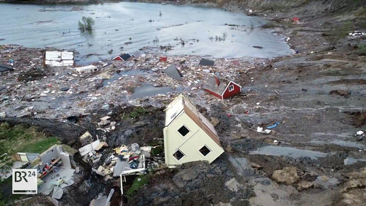 Die Bewohner des kleinen norwegischen Ortes Alta hatten großes Glück. Ein Erdrutsch spülte acht Häuser ins Meer.