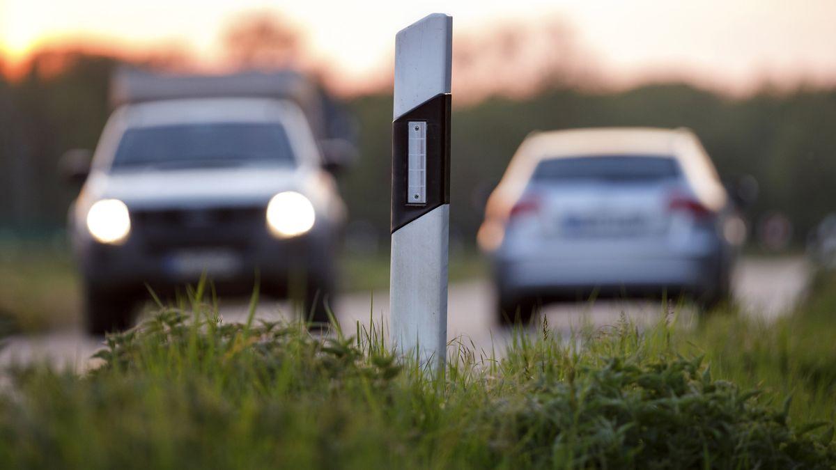 Leitpfosten auf einer Landstraße - im Hintergrund zwei Autos