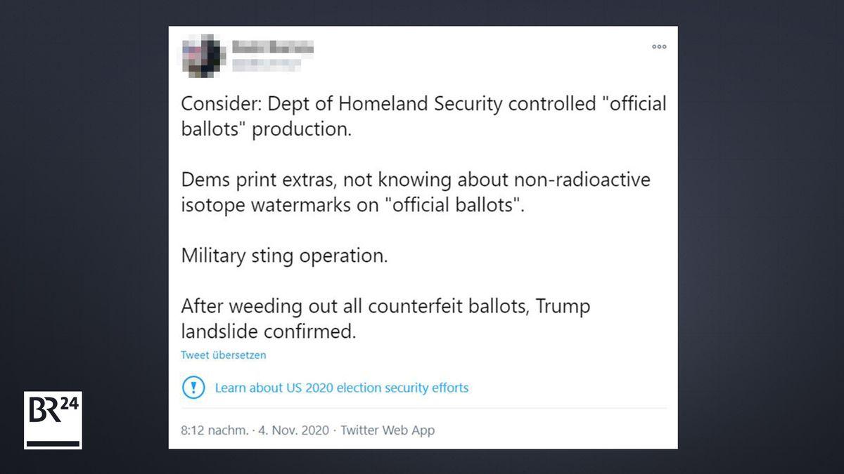In einem Tweet behauptet ein User fälschlicherweise, es gebe heimliche Wasserzeichen auf den Stimmzetteln.