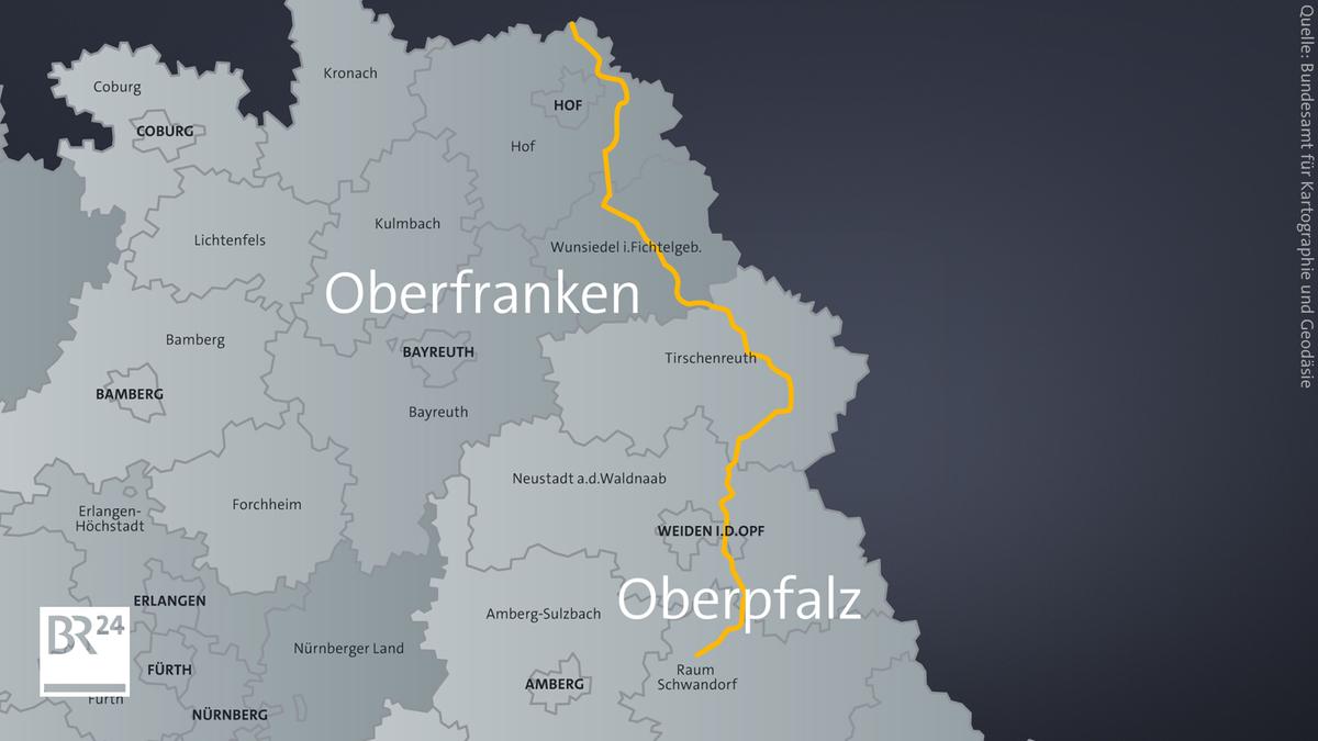 Der Trassenverlauf zwischen Hof und Schwandorf
