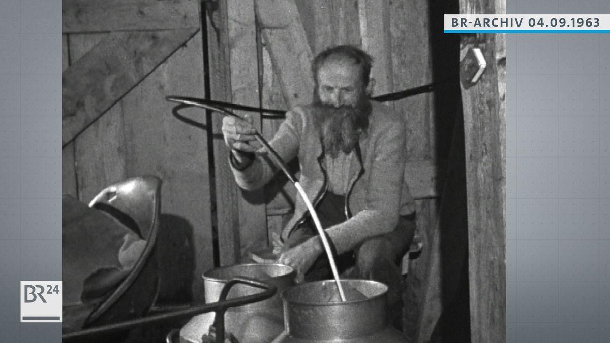 Almbauer hält einen Schlauch in der Hand, aus dem Milch in ein Fass läuft.