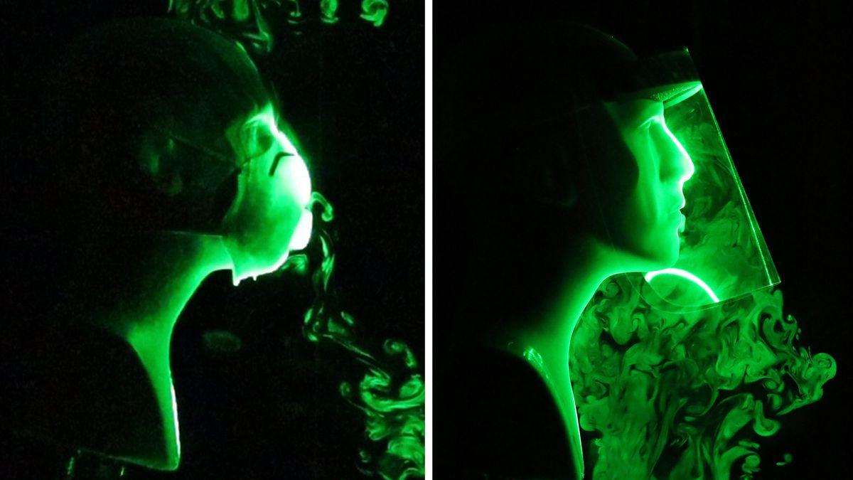 Im wissenschaftlichen Versuch wurde die Strömung künstlich hergestellter Atem-Tröpfchen beim Tragen einer N-95-Gesichtsmaske mit Ausatemventil (li.) und einem Gesichtsschild (re.) simuliert.