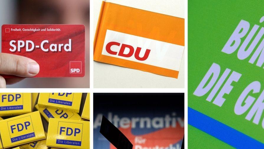 Parteienlogos und -symbole von SPD, CDU, Bündnis90/Die Grünen, FDP und AfD