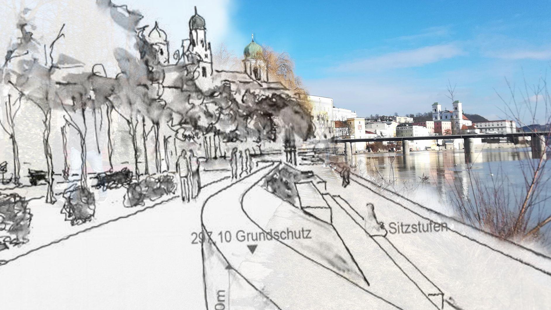 Bisher gibt es nur Skizzen von der künftigen Innpromenade mit Schutzmauer. Jetzt hat die Stadt einen Film anfertigen lassen.