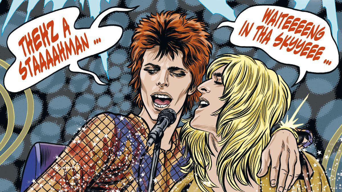David Bowie und Gitarrist Mick Ronson singen gemeinsam ins Mikrofon, Bowie legt den Arm um Ronson